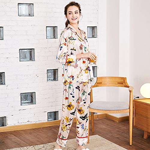 Pijama Pantalon Aibab Mujer Seda Piezas Traje Manga Hilado Dos De Larga Chandal CwFTBn4q