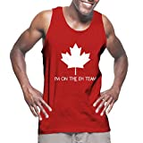 Mens I'm On The Eh Team - Canada, Canadian Tank Top T-shirt (Large, RED)