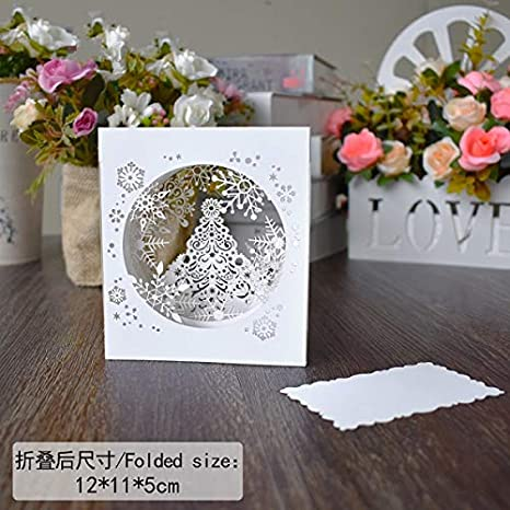 westtreg 10 Pack Christmas Cards Snowflake Decoration Box Gifts Card Pop UP Cards Xmas New Year Greeting Cards,Christmas Box: Amazon.es: Hogar