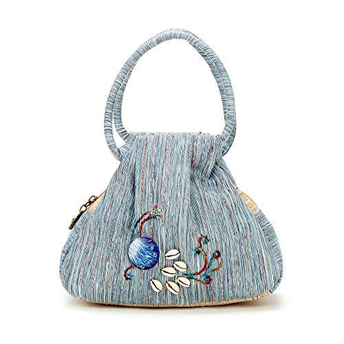 Renhong Print Canvas Bag Ladies Style Fashion Vintage Ethnic Peacock Blue Gray Orange Package Gray-27 * 7 * 16cm Gray