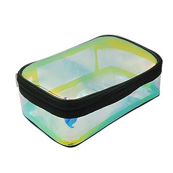 Amazon.com: Tpu transparente iridiscente bolsa de cosméticos ...