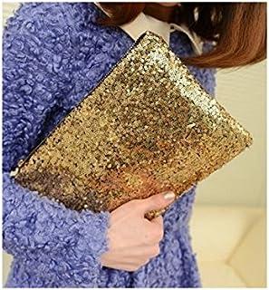 HOUHOUNNPO Mode de Stockage Sac Paillettes Sac cosmétique Sac Maquillage Sac Pochette de Lavage pour Les Femmes (Golden) Pochette Cosmétique Femme