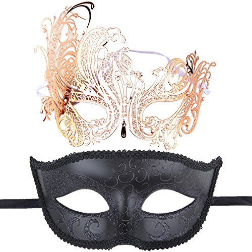 One Pair Couple's Gorgeous Venetian Masquerade Masks Party Costumes Accessory (Rose Gold+Black) -