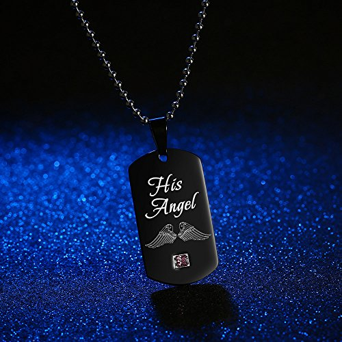 d954f29014 GAGAFEEL Couples Necklace His Angle Her Cowboy CZ Pendant Dog Tag Necklaces  Anniversary Gift for Friends