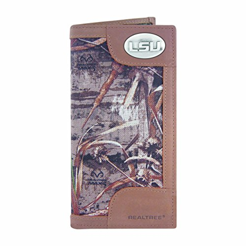 NCAA LSU Tigers Zep-Pro Realtree Nylon and Leather Secretary-Style Roper Concho Wallet, Camouflage, One Size