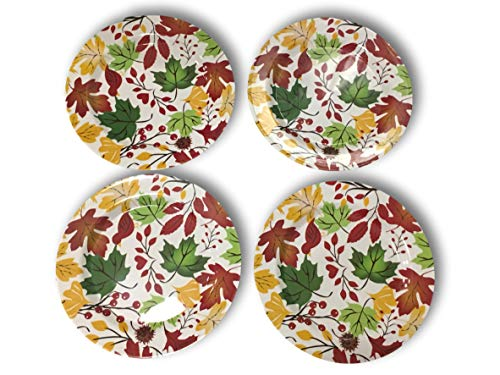 Fall Melamine Plate Set of 4 -Be Thankful Pumpkins & Sunflowers or Falling Leaves (Falling Leaves & Holly Berries) by Midwood Brands, LLC