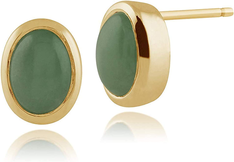 Gemondo Mujer 375 Oro 9ct Oro Amarillo Oval Jade Classic Bisel Set de Pendientes Verde 7x6mm