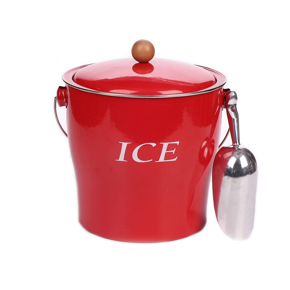 Hot Sale T686 Vintage Red 4L Metal Double Walled Ice Bucket Set/Home Kitchen Gifts With Lid/wooden Handle And Scoop KL