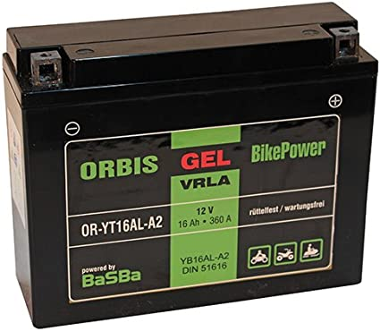 Intact Bike-Power Gel12-16AL-A2 Motorradbatterie 12V//16Ah 51616//YB16AL-A2