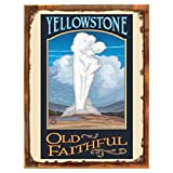 Wood-Framed Old Faithful Metal Sign: Travel Decor Wall Accent for kitchen on reclaimed, rustic wood