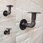 KINGSO 2Pcs Industrial Black Iron Pipe Bracket Wall Mounted Floating Shelf Hanging Wall Hardware Decor for Farmhouse Shelving Hardware Heavy Duty 7