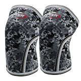 Knee Sleeves (1 pair), 7mm Thick Compression Knee Braces Offer Perfect Support for Squats Weightlifting,Powerlifting,Crossfit,Cross Training WOD for Men & Women (Large, Grey Camo)
