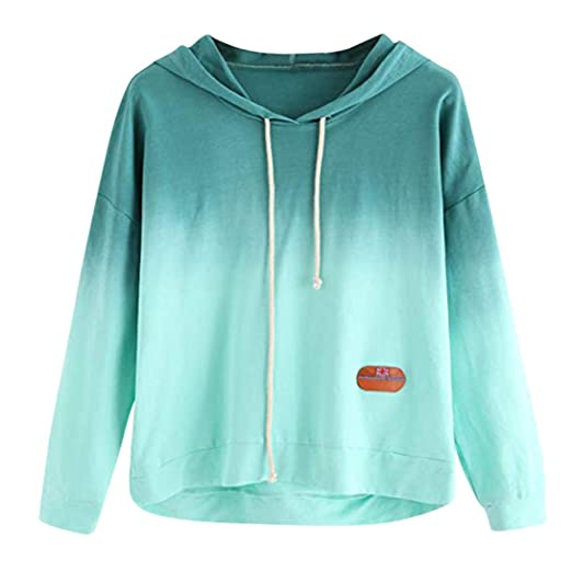 d51a63e8d68 Fanteecy Women's Long Sleeve Hoodie Sweatshirt Colorblock Tie Dye Print  Hooded Pullover Shirt Blouse (S