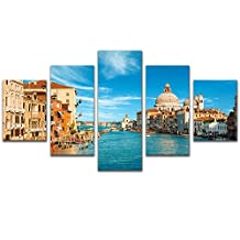 5 Panel Venice Italy City Landscape Painting Canvas Print Picture for Living Room Framed,Large Size 150cmX80cm,Ready to hang