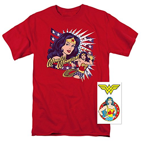 Woman Wonder T-shirt Awesome - Wonder Woman Pop Art DC Comics T Shirt (XX-Large) Red