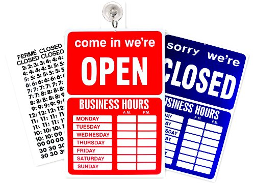 Open Closed Sign Business Hours Notice ()