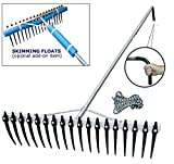 Shore-Tech Industries Super Long/Wide Lake Weed, Beach & Landscaping Rake - (11ft handle/w Float Kit)