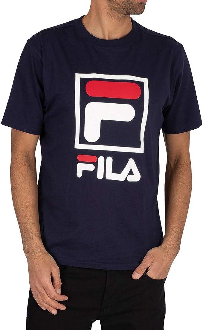 Fila de los Hombres Jack Stacked Logo Camiseta, Azul: Amazon.es: Ropa y accesorios