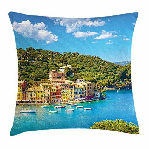 (Ambesonne Italy Throw Pillow Cushion Cover, Portofino Landmark Aerial Panoramic View Village and Yacht Little Bay Harbor, Decorative Square Accent Pillow Case, 20 X 20 Inches, Blue Green)