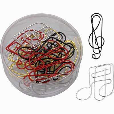 Treble Clef & Music Note Paper Clips