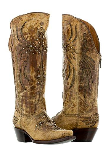 Cowboy Professional - Women's Sand Cruz Fuego Leather Tall Cowboy Boot 7 Medium (B,M) ()