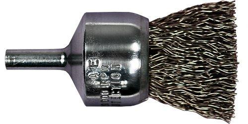 PFERD 82974 Stem Mounted Power Crimped Wire End Brush, Round Shank, Carbon Steel Bristle, 1
