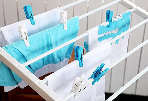 Tenby Living Spring Clothespins (Pack Of 56) - Plastic Soft Grip, Anti-Slip Clothes Pins With Sturdy Steel Springs - 28 Blue & 28 White Attractive Clothing Line Clips - Top Air-Drying Clothing Pin Set by Tenby Living (Image #2)