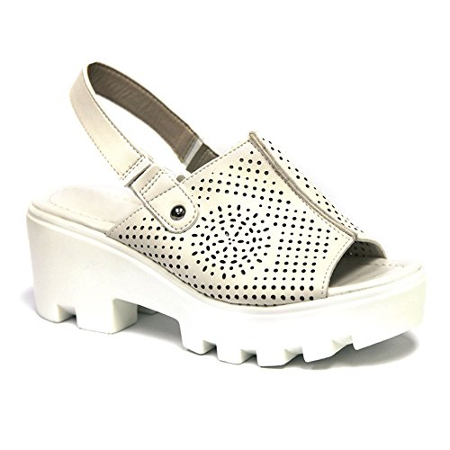 Best Cute Valentines Day White Slingback Rubber Sole Peek Toe Chunky Heel Platform Wedge Fashion Ver Zapatos Escolares De Mujer Sandal Shoe Under 20 Dollars For Sale Women Teen Girl (Size 10, White) (White Sandals Womens Size 10)