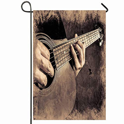 Ahawoso Outdoor Garden Flag 12x18 Inches Hands Concert Closeup Acoustic Guitar Played by Authentic Abstract Singer Live Arms Band Design Gyg Seasonal Home Decorative House Yard Sign