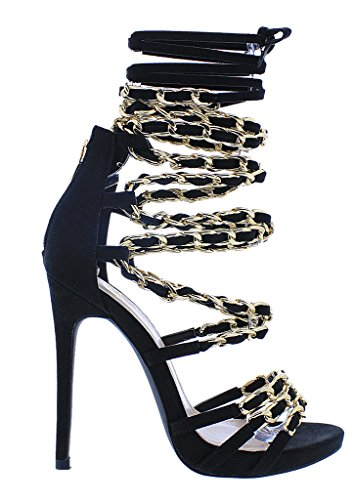 Liliana Fleek Chain Link Leg Wrap Lace Up Dress Sandal, Greek Goddess Gladiators. (11, Black) (Greek Goddess Sandals)