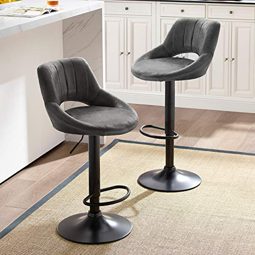 Art Leon Modern Retro PU Leather Adjustable 360 Swivel BarStools Chair Set of 2 with Open Backrest Black Powder Coated Gas Lift and Footrest Gray