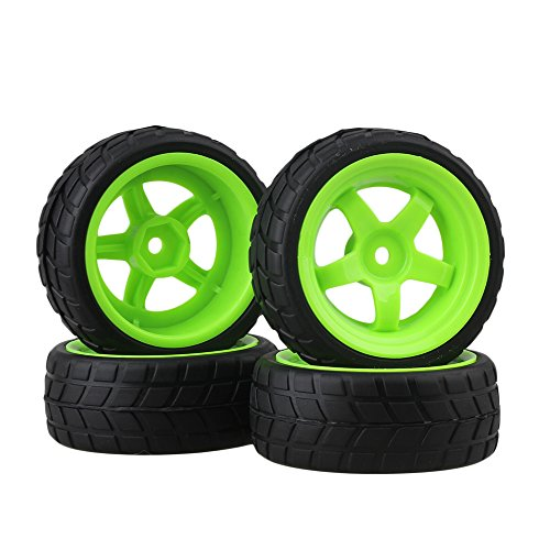 BQLZR Black and Green RC 1: 10 On-road Racing Car Plastic Wheel Rims&Rubber Tires Pack of 4 (Plastic Toy Wheels)