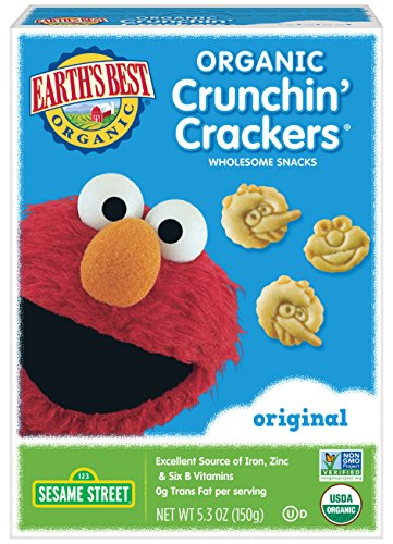 Earth's Best Organic Crunchin' Crackers, Toddler Snacks, Original Flavor, Sesame Street Characters, 5.3 Oz (Pack of 6) -
