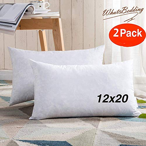 WhatsBedding 100% Cotton Throw Pillow Insert - Sham Stuffer Filled with Down and Feather for Firm Rectangle Throw Pillow Decorative Couch Pillows Used for Sofa and Bed, 2PC, White,12x20 Throw Pillows