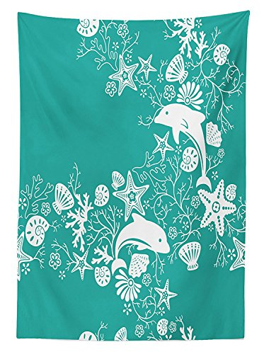 Sea Animals Decor Tablecloth Dolphins and Flowers Sea Floral Pattern Starfish Coral Seashell Wallpaper Dining Room Kitchen Rectangular Table Cover