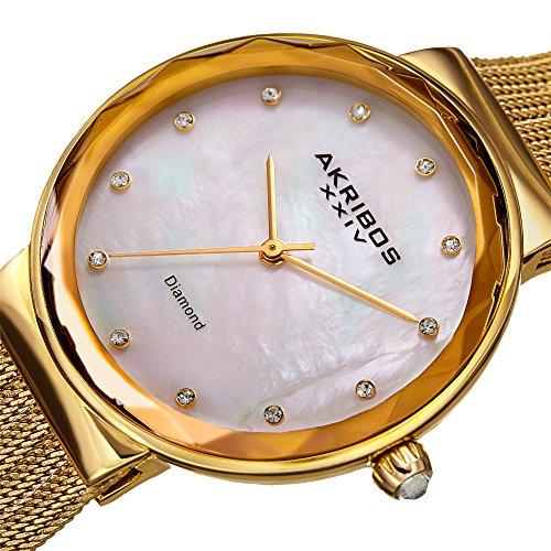 Akribos XXIV Women's Quartz Diamond & Mother-of-Pearl Gold-Tone Fine Mesh Bracelet Watch - AK1009YG by Akribos XXIV (Image #1)