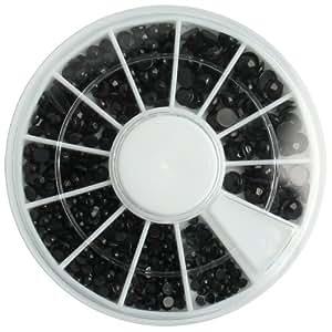 EFT Black Round Nail Glitter Rhinestones Nail Gems Nail Art Design Decoration