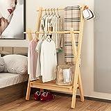 Waterproof wood coat racks,garment rack multipurpose bamboo coat and shoe rack hat bag rack bedroom simple floor standing coat rack storage living office cloakroom assemble-B L86.3cmxW44cmxH165cm