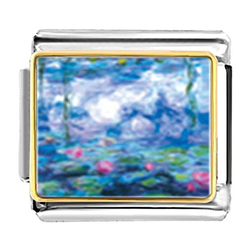 GiftJewelryShop Gold Plated Monet's Nympheas Water Lilies Bracelet Link Photo Italian Charm ()