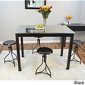 Modern Shaker Wood Counter Height Bar Table With Stainless Steel Top  (Black)   Includes