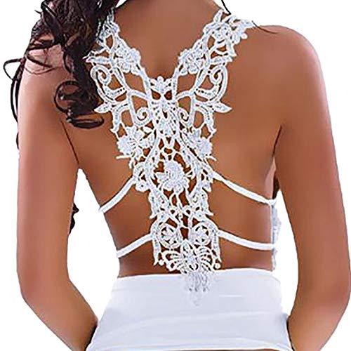 FarJing Hot sale Fashion Sexy Womens U Neck Lace Trim Racerback Tank Tops Hollow Out Sport Vest (2XL, White)