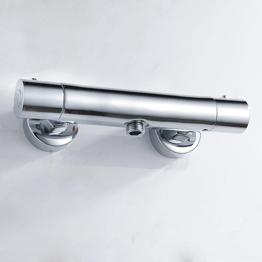 Fulllove Brausethermostat Dusche Brausearmatur Brausemischer Thermostat Mischbatterie Bad Chrom