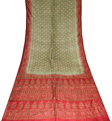 Olive Green Silk Sari - 7