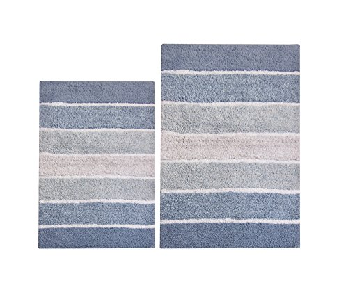 Chardin Home - 100% Pure Cotton - 2 Piece Cordural Stripe Bath Rug Set, (24''x40'' & 21''x34'') Blues with Latex spray non-skid backing