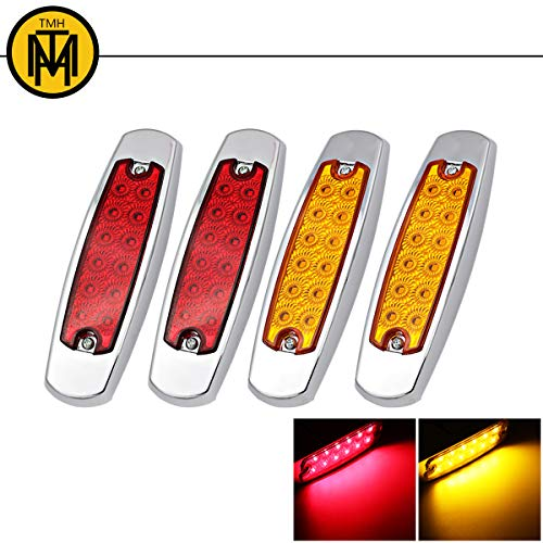 """4x TMH 6.4"""" Inch SMD 12 LED Ultra Thin 2 Amber + 2 Red Sealed Bulb Front Rear Side Marker Lamp Chrome Bezel Fender Clearance Lights Fit Truck RV Flatbed Trailer Kenworth Peterbilt Style 24V DC (4 pcs)"""