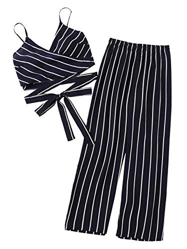 Milumia Women Striped Knot Hem Wrap Cami Crop Top with Pants 2 Piece Outfit Navy-3 L