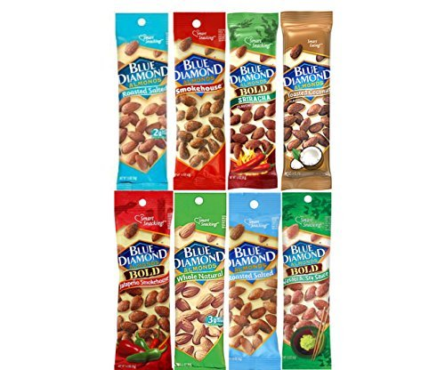 Blue Diamond Variety Almonds  Bundle, Pack of 8 (Sauce Soy Salted)