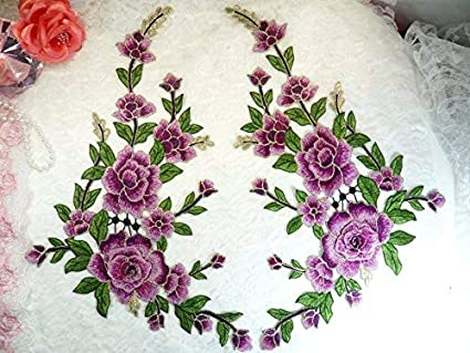 19af32b4e11 Image Unavailable. Image not available for. Color: Embroidered Floral 3D  Applique Mirror Pair Lavender Craft Patch Cluster