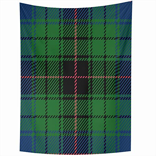 - Ahawoso Tapestry 50x60 Inches Blue Abstract Scottish Clan Davidson Tartan Plaid Green Black Wall Hanging Home Decor Tapestries for Living Room Bedroom Dorm