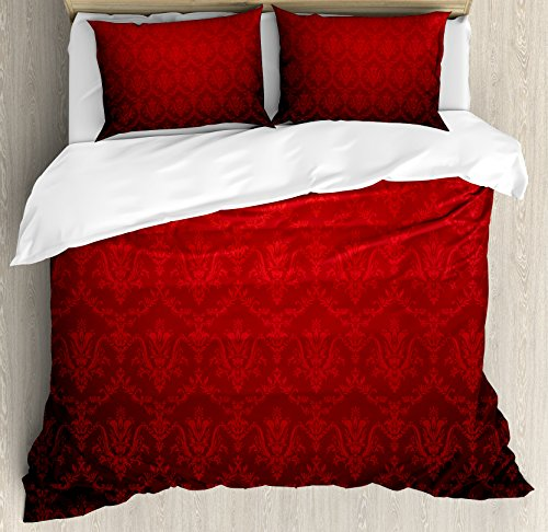 Ambesonne Dark Red Queen Size Duvet Cover Set, Antique Floral Pattern with Baroque Royal Renaissance Influences and Ombre Effect, Decorative 3 Piece Bedding Set with 2 Pillow Shams, Red (Baroque Comforter Set)